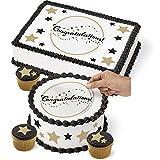 Wilton 710-7817 Graduation Cake Peel & Place Sugar Sheets Decorating Kit