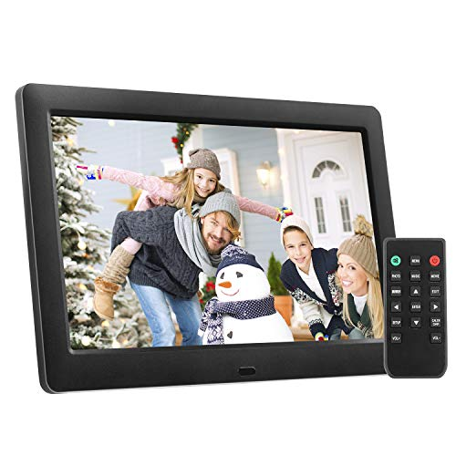 Digital Picture Frame 8 Inch Electronic Photo Frame & High Resolution 1280 x 720 IPS LCD Screen – Auto-Rotate/Calendar/Clock Function, MP3/ Photo/Video Player with Remote Control