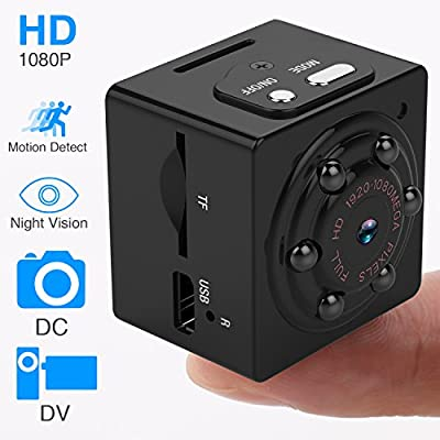 Mini Portable Camera, 1080P HD Body Cam with Night Vision Motion Detection Wireless Small Video Recorder for Sports Home and Office Surveillance