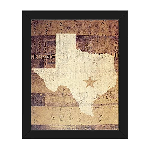 Texas Rustic Distressed Paper Mache State of Texas Silhouette Star on Vintage Antiqued Newspaper-pattern Wall Art Print on Canvas with Black Frame