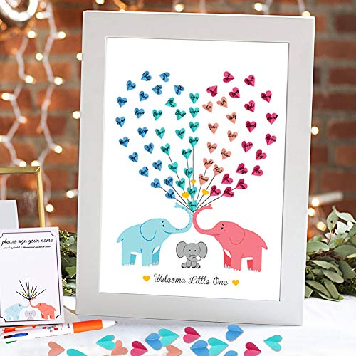 AerWo Elephant Baby Shower Guest Book, Cute Babyshower Guest Sign in Book Signing Canvas Keepsakes for Baby Shower Decorations (Without Frame)]()
