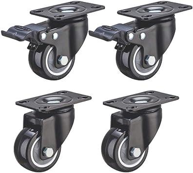 4pcs robuste roue de roulette de roue frein tournant 2 pouces pas de frein
