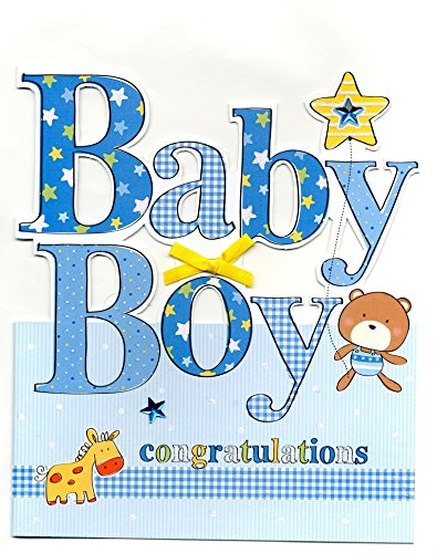 Amazon cutting edge large new baby boy congratulations cutting edge large new baby boy congratulations greeting card 9 x 10quot greetings cards m4hsunfo