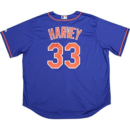 Matt Harvey Signed New York Mets Blue Replica Jersey (LOJO Auth) Derek Jeter Replica Baseball Jersey
