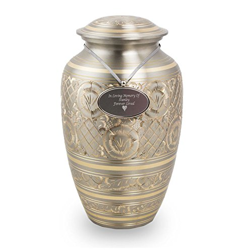 Elegant Platinum Brass Memorial Urn for Adult Humans - Large - Holds Up to 190 Cubic Inches of Ashes - Gold Cremation Urn for Ashes - Custom Engraving Included
