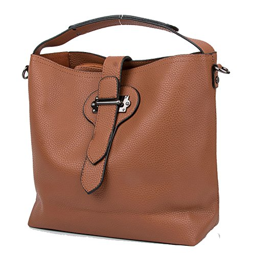 Women Fashion PU Leather 2 Pieces Top Handle Casual Tote Handbag Gross body Shoulder Bag Brown