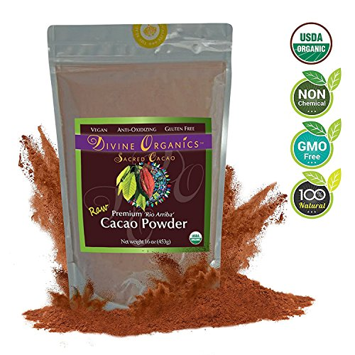Divine Organics Raw Cacao Powder / Raw Cocoa Powder - Certified Organic - Premium Rio Arriba - Smoothies, Hot Chocolate, Baking, Shakes, Add to Coffee - Rich in Magnesium (32oz)