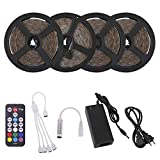 Richsing LED Strip Lights 65.6ft/20M Waterproof Flexible RGB SMD2835 4 x 300LEDs with 12V Power Adapter 18Key RF Remote