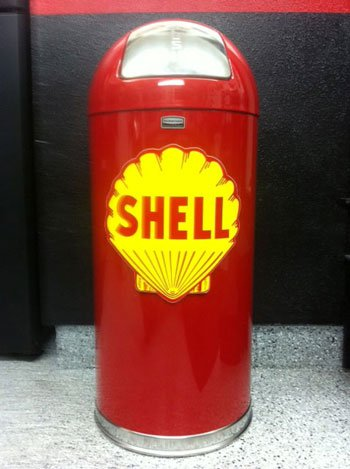 Retro Style Bullet Trash Can- Red Shell Gasoline