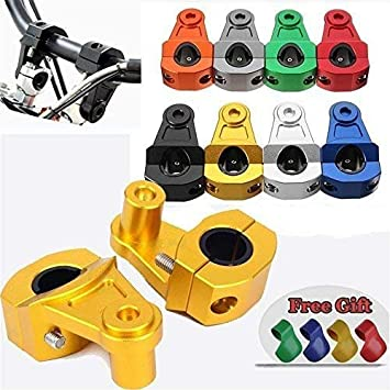 PRO CAKEN 28mm CNC Billet Handlebar Mount Clamp Handle Bar Holder Dirt Pit Bike M10 Bolt Yellow