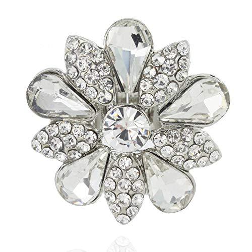 Ring Rhinestone Flower Fashion (SP Sophia Collection Fashion Flower Ring Embellished with Rhinestones and Austrian Crystals in Silver)