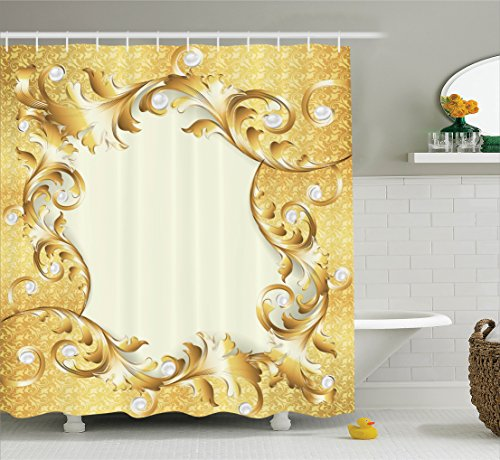 (Ambesonne Pearls Shower Curtain, Illustration of a Frame with Ornaments and Pearls Baroque Style Floral Patterns, Fabric Bathroom Decor Set with Hooks, 84 Inches Extra Long, Cream Yellow)