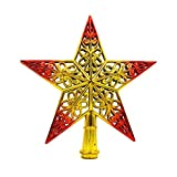 Creazy Christmas Tree Top Sparkle Stars Hang Xmas Decoration Ornament Treetop Topper (Red)