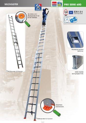 Escalera corredera, 3 tramos de aluminio con dos cuerdas: Amazon.es: Bricolaje y herramientas