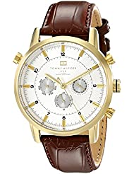 Tommy Hilfiger Mens 1790874 Gold-Tone Watch with Brown Leather Band