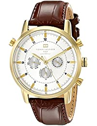 Men's 1790874 Gold-Tone Watch with Brown Leather Band