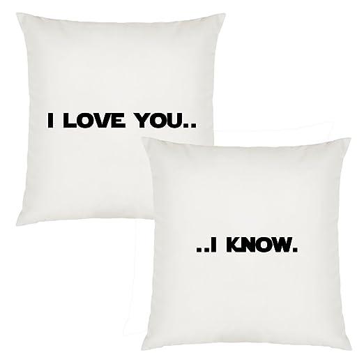 I Love You I Know texto inspirador diseño par de fundas de ...