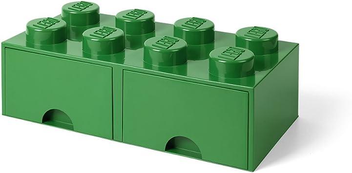 Room Copenhagen-40061734 Caja de Almacenaje Apilable, Ladrillo 8 pomos, 2 Cajones, 9.4 l, Color Verde (Green), 50 x 25 x 18 cm (Lego 40061734): Amazon.es: Juguetes y juegos