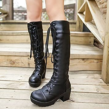 WIKAI Womens Shoes PU Fall Winter Comfort Boots Chunky Heel Round Toe With For Casual White Black  B075SYQP9M