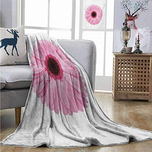 Homrkey Throw Blanket Pink and White Fresh Gerber Daisy Garden Plants of Spring Growth Single Flower Image Full Size Blanket W70 xL93 Pale Pink White