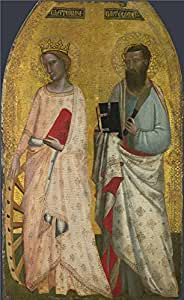 The Perfect effect canvas of oil painting 'Allegretto Nuzi Saint Catherine and Saint Bartholomew ' ,size: 24 x 39 inch / 61 x 100 cm ,this High Resolution Art Decorative Canvas Prints is fit for Basement artwork and Home gallery art and Gifts