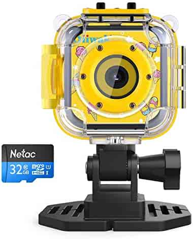 Oiiwak Kids Camera Gifts for 3-10 Year Old Girls, 5.0 MP Waterproof Video Action Digital HD Mini Child Camcorder for Outdoor Play, Yellow(32GB Memory Card Included)
