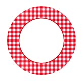 Amscan Disposable Classic Picnic Red Gingham Border Round Plates Tableware Party Supplies (480 Piece), Red/White, 10 Inch