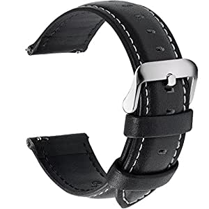 12 Colors for Quick Release Leather Watch Band, Fullmosa Axus Genuine Leather Watch Strap 14mm Black
