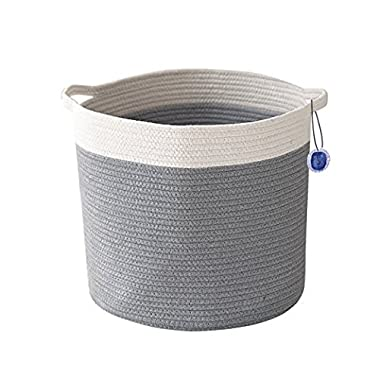 "Blue Sage Organics ECO friendly Storage Baskets - Large 15"" x 14"" Cotton Rope Two Tone Storage Bins for Organizing Toys, Baby, Kids, Laundry Bin, Woven Basket (ivory/grey)"