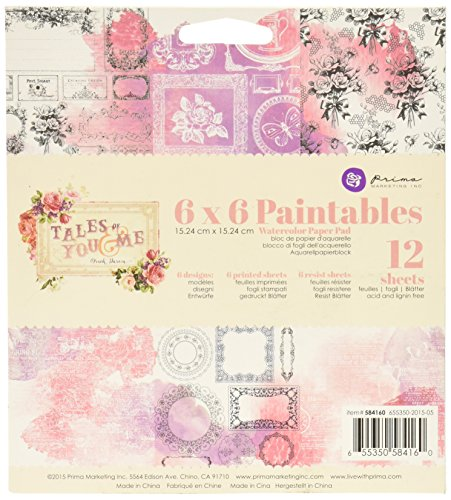 Prima Marketing 584160 Tales of You & Me Paintable Watercolor Paper Pad (12/Pack), 6