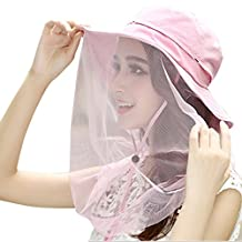 Panegy Womens Outdoor Wide Brim Hat Anti-UV Flap Cap with Removable Sun Shield Mask