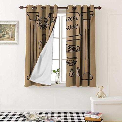 shenglv Greek Decor Curtains by Ornamental Ancient Civilization Pillars Pots Wreath and Food Theme Party Design Curtains Girls Bedroom W63 x L63 Inch Tan and Beige