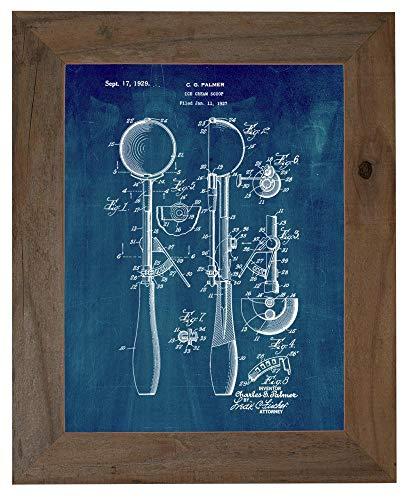 Ice-Cream Scoop Patent Art Midnight Blue Print in a Barnwood Frame (16