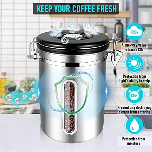 Kaffeedosen Luftdicht 1800ML Kaffeebohnen behälter mit transparentem Fenster, Vorratsdosen aus Edelstahl mit Datums-Tracker, 30ML Messschaufel und CO₂-Ventil für Kaffee Kaffeebohne Pulver, Zucker, Tee