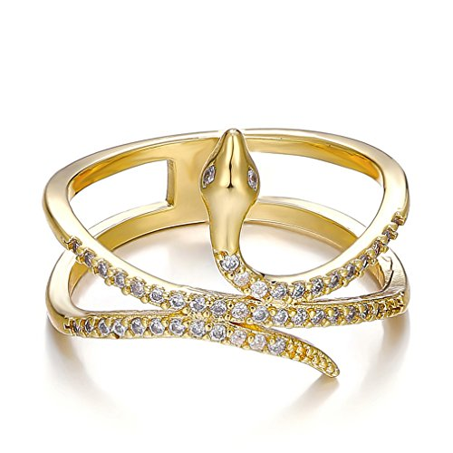 Ring White Snake Gold (Fashion idea Gold Plated snake-like ring with lots of tiny Cubic Zirconia Promise Rings for girls)
