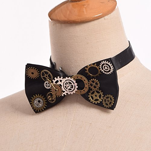 BLESSUME Unisex Punk Bow Tie Gothic Vintage Bow Tie Mens neckwear by BLESSUME (Image #2)