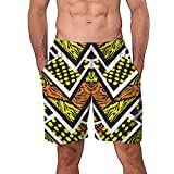 NUWFOR Men Casual 3D Graffiti Printed Beach Work Casual Men Short Trouser Shorts Pants(Z5-Multi Color,US:M Waist29.1-33.1'')