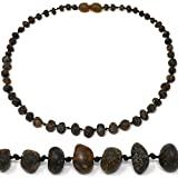 """Amber Teething Necklace - TRULY Raw 100% Baltic Amber (13"""", Dark Green)"""