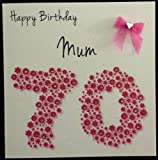 Product review for Happy Birthday Card - Mum 70th Bright Pink Flowerbed - Handmade Card