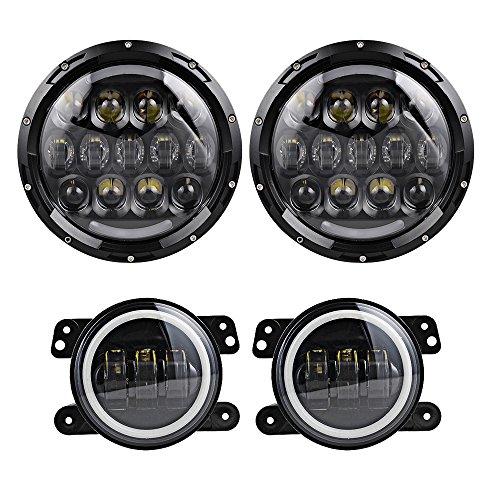 Pair 105W 7 Inch Round LED Headlight Turn