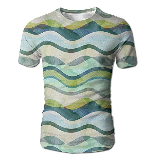 Kooiico Mens Ocean Wavy Shapes Abstract Design Ombre Like Sea Casual Style T Shirt White XL for $<!--$24.77-->