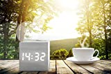 (Upgraded 2018 Model) White Wood Cube Alarm Clock - New Minimal Sleek Design Clocks for Adults, Teens & Kids - Get Today 100% Warranty - For Home and Travel, with LED Digital Display - Limited Edition