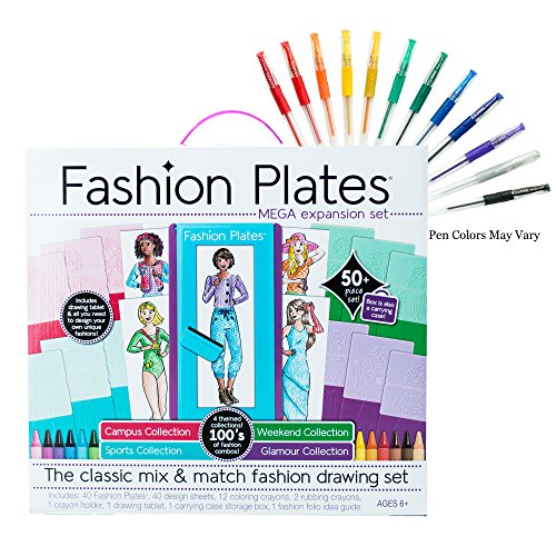 Fashion plates mega design set with gel pens import it all