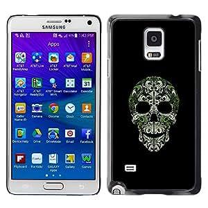 TECHCASE**Cubierta de la caja de protección la piel dura para el ** Samsung Galaxy Note 4 SM-N910 ** Skull Bling Nature Silver Green Skeleton