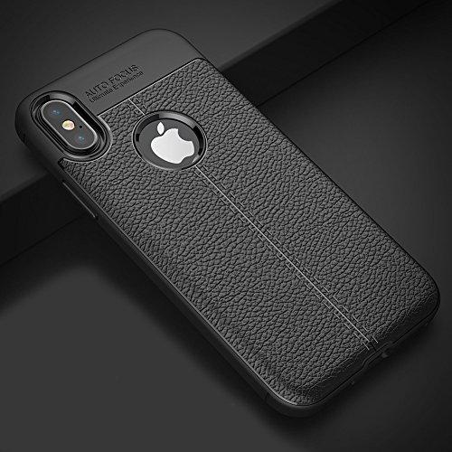 Apple iPhone X / iPhone 10 Hülle, MSVII® Anti-Shock Weich TPU Silikon Hülle Schutzhülle Case Und Displayschutzfolie für Apple iPhone X / iPhone 10 - Schwarz JY90041