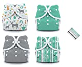 Thirsties Duo Wrap Snaps Diaper Covers 4 Pack Combo: Fin, Moss, Aspen Grove, Woodland Sz 1