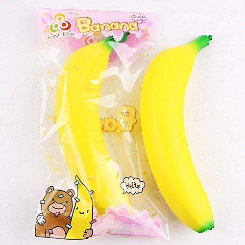 1pcs Jumbo Squishies Cream Scented Slow Rising Soft Kawaii Release Stress Cake Squishy Toy for Children (banana) (Strawberry Cake Banana)