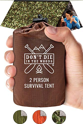 Worlds Toughest Ultralight Survival Tent • 2 Person Mylar Emergency Shelter Tube Tent + Paracord • Year-Round All Weather Protection For Hiking, Camping, & Outdoor Survival Kits (Camo)