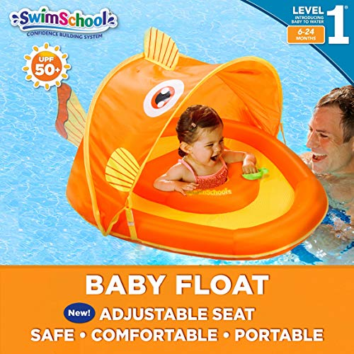 SwimSchool Gold-E-Fish Fabric Baby Pool Float, Splash and Play Activity Center with Retractable Canopy, Adjustable Safety Seat, Extra-Wide Inflatable Pool Float, UPF 50, 6 to 24 Months, Orange