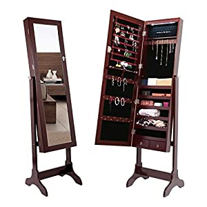Amoiu Jewelry Cabinet Mirror 2 Drawers Led Lights